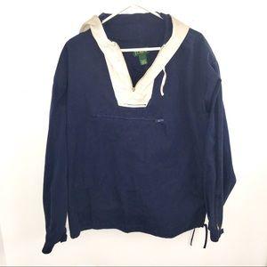 Vintage J Crew Pullover Anorak Jacket Navy Khaki L